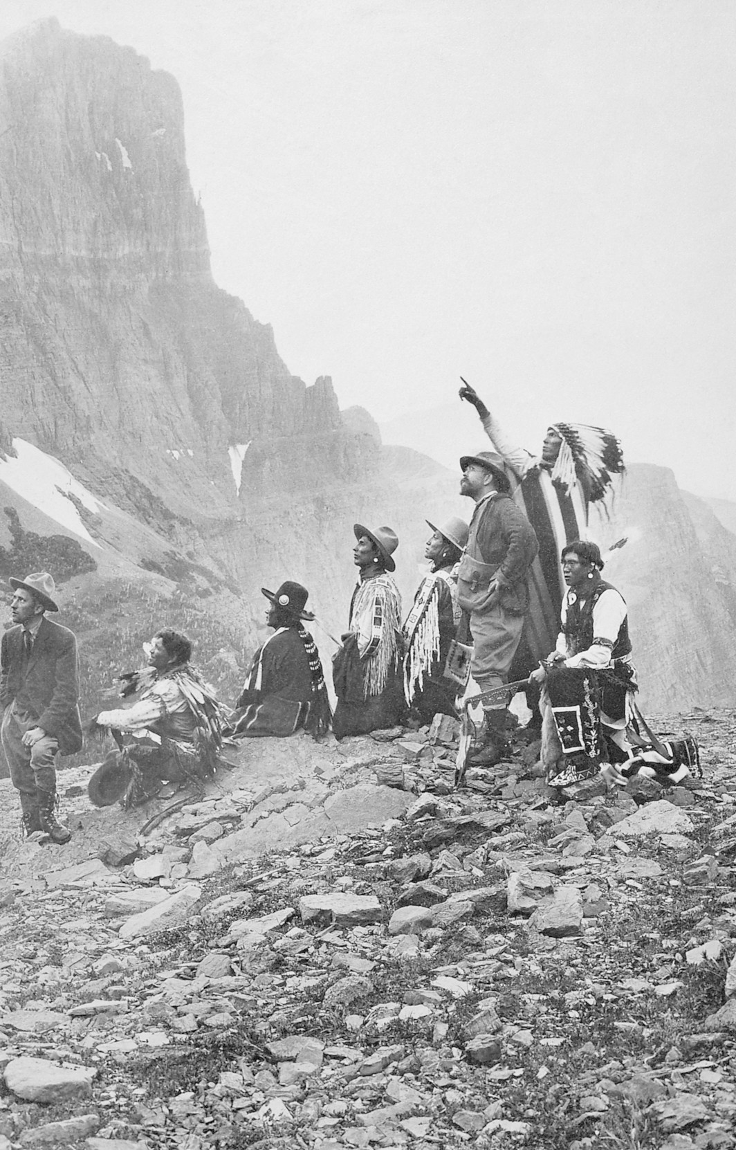 Edward S. Curtis with an unidentified group of American Indians, date and photographer unknown.