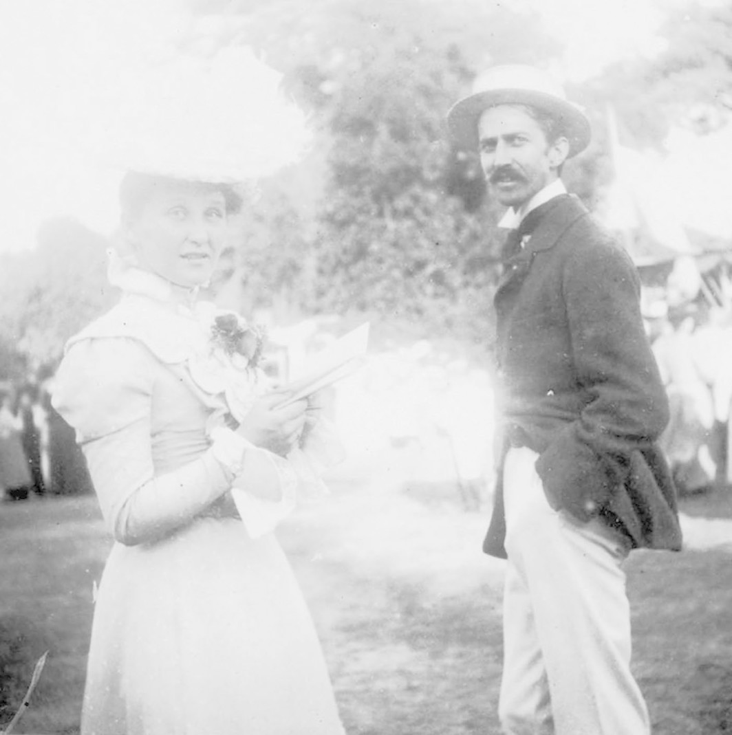 A woman believed to be Cora Taylor with Stephen Crane, 1899.