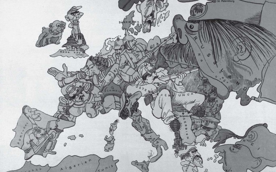 Map of Europe drawn by Walter Trier in 1914.