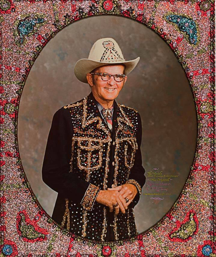 Loy Bowlin, The World's Most Famous Entertainer the Original Rhinestone Cowboy Loy Allen Bowlin, 1977, color photograph in artist-made frame. From Sublime Spaces and Visionary Worlds: Built Environments of Vernacular Artists by Leslie Umberger