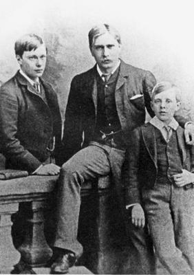 Arthur Benson (center) with two of his brothers, ca. 1883.