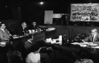Fredric Wertham testifying before the Senate-subcommittee hearing on juvenile delinquency and comic books, New York, 1954.