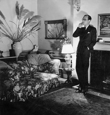Patrick Hamilton in his rooms at the Albany, London, during World War II.