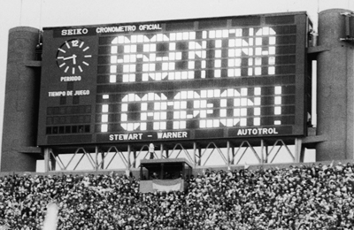 Scoreboard announcing Argentina's win in the World Cup, Buenos Aires, 1978.