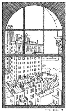 Ben Sonnenberg's window, from Matteo Pericoli's The City Out My Window