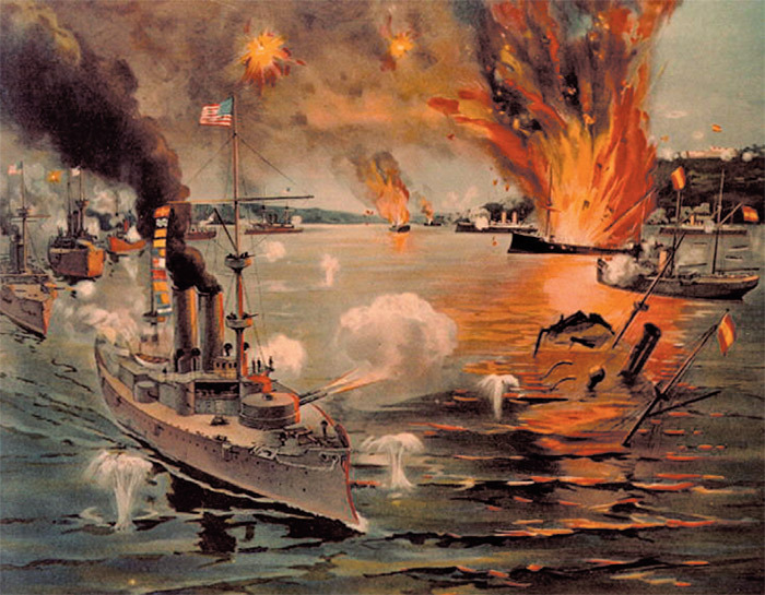 The Battle of Manila Bay, May 1, 1898, when the US Asiatic Squadron destroyed the Spanish fleet.
