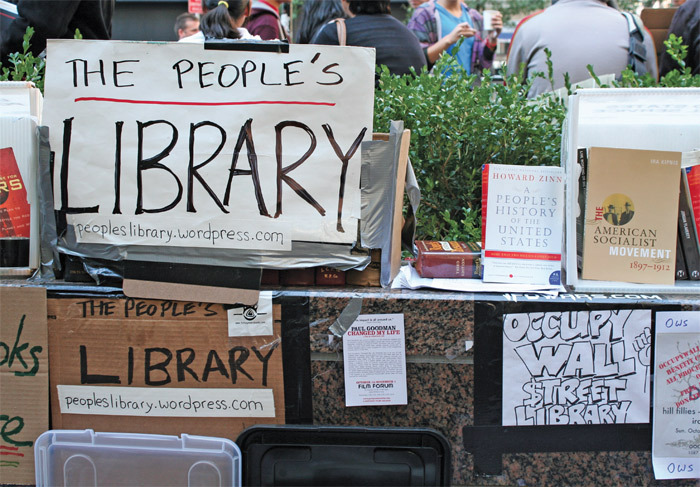 Steal this book: The OWS Library in Zuccotti Park.