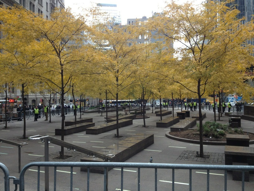 An eerily empty Zuccotti Park on Tuesday morning.