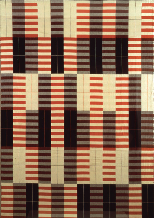"Anni Albers, Black-White-Red, 1964 (reproduction of a 1927 original), cotton and silk, 68 x 46""."