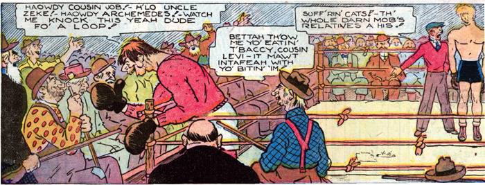 A panel from Ham Fisher's comic Joe Palooka, 1933, ghosted by his assistant Al Capp.