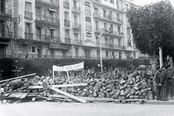 Barricades on the streets of Algiers during the Algerian War of Independence, January 1960.