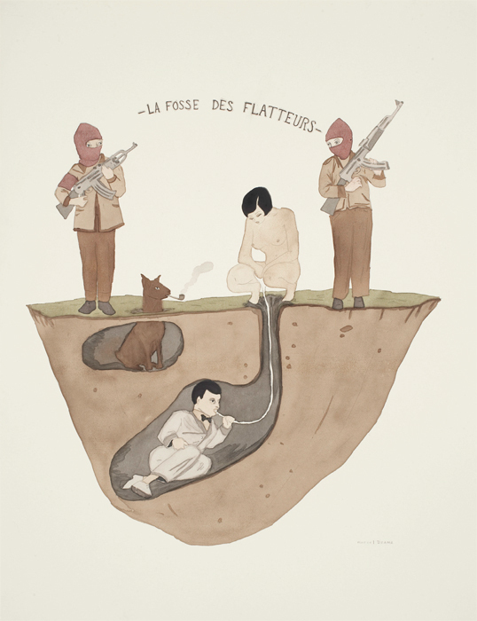 "Marcel Dzama, The Ditch of the Flatterers, 2007, ink and watercolor on paper, 13 1/3 x 10 5/8""."