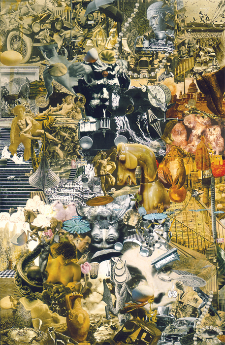 Jess, The Chariot: Tarot VII, 1962, collage, 51 x 33""