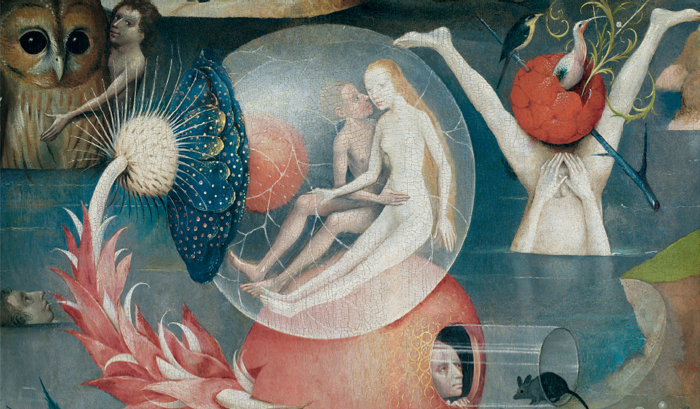Hieronymus Bosch, The Garden of Earthly Delights (detail), ca. 1503, triptych, oil on wood, overall 7 1/4 x 12 3/4'.