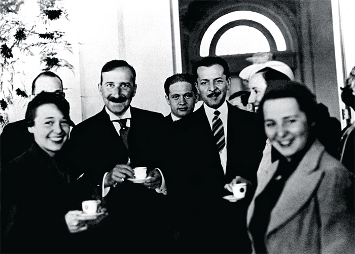 Stefan Zweig, second from left, at the Jockey Club in Rio de Janeiro, ca. 1936.
