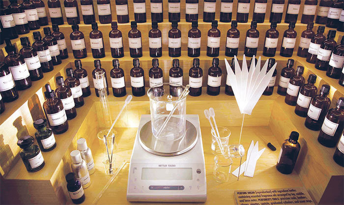 "A perfume maker's station on display in the exhibition ""Making Scents: The Art and Passion of Fragrance,"" 2010."