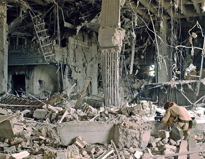 Ruins of one of Saddam Hussein's presidential palaces bombed by coalition forces, 2003.