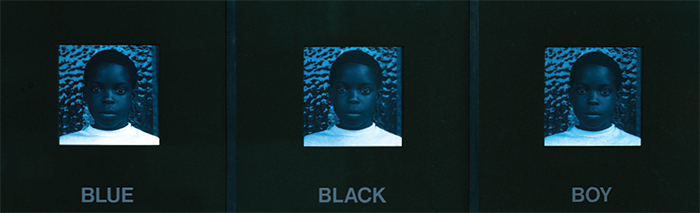 "Carrie Mae Weems, Blue Black Boy, 1987, toned gelatin silver prints with text on mat, 17 × 49""."
