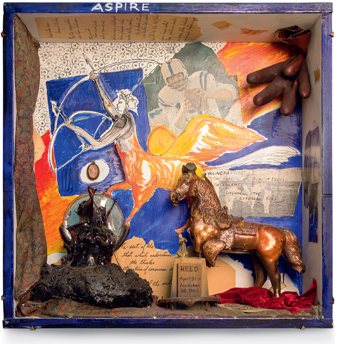 "George Herms, Zodiac behind Glass—Sagittarius Box, 1965, assemblage, 25 × 24 × 8""."