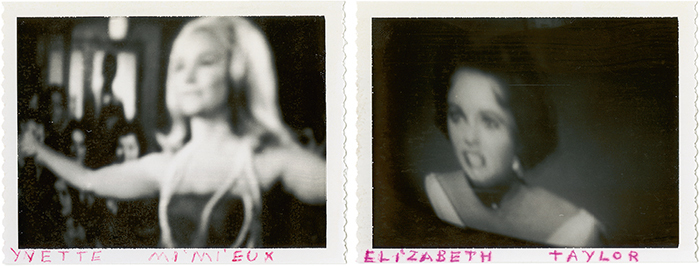 "From left: Unknown artist, Yvette Mimieux, ca. 1960–70, mixed media on Polaroid print, 3 1/4 × 4 1/4"". Unknown artist, Elizabeth Taylor, ca. 1960–70, mixed media on Polaroid print, 3 1/4 × 4 1/4""."