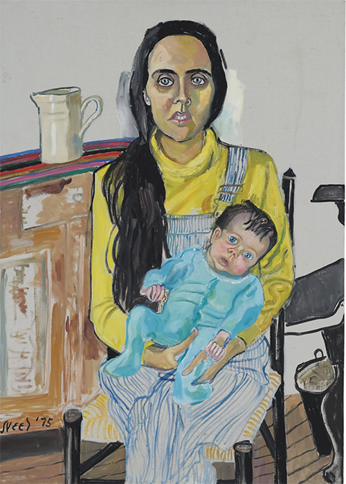 "Alice Neel, Ginny and Elizabeth, 1975, oil on canvas, 42 × 30""."