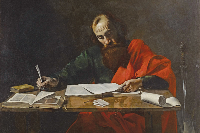 "Saint Paul Writing His Epistles, ca. 1618–20, oil on canvas, 39 1/8 × 52 3/8"". Attributed to Valentin de Boulogne."