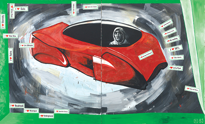 "Martin Kippenberger, The Capitalistic Futuristic Painter in his Car, 1985, oil, acrylic, and stickers on canvas, 99 × 118""."