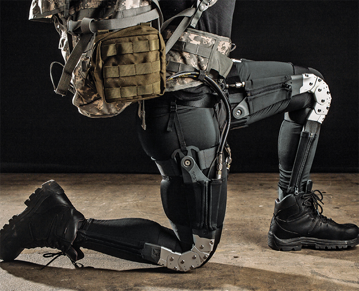 A solider wearing military gear developed by DARPA's warrior web program.
