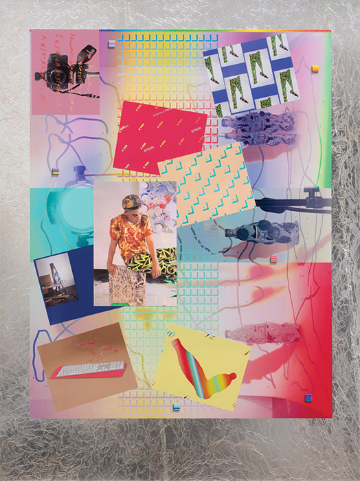 "Carter Mull, Nicky, My Neighbor, 2013–14, ink-jet prints and metallic foil on Sintra, 57 1/2 × 43 3/4""."