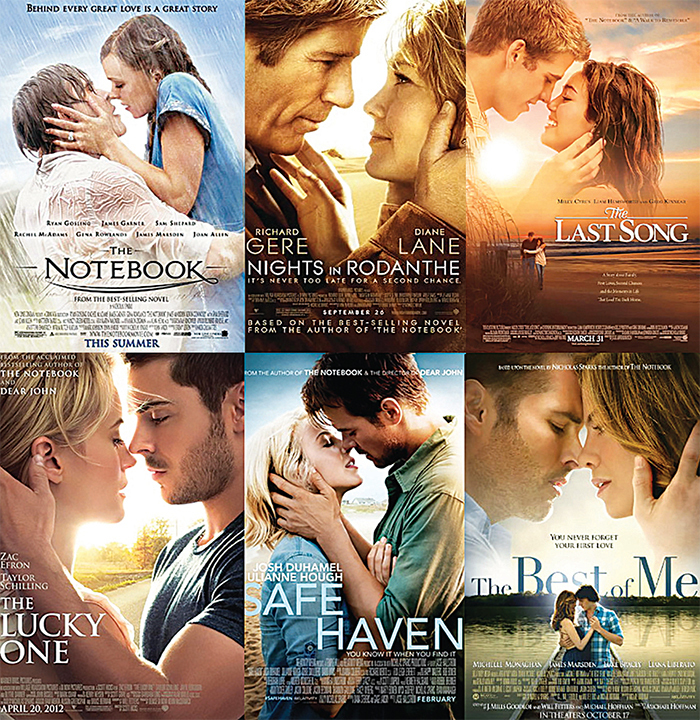 Movie posters for six films based on Nicholas Sparks books.