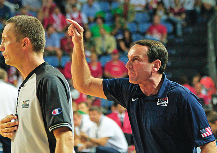 Coach Mike Krzyzewski berating a referee, 2010.