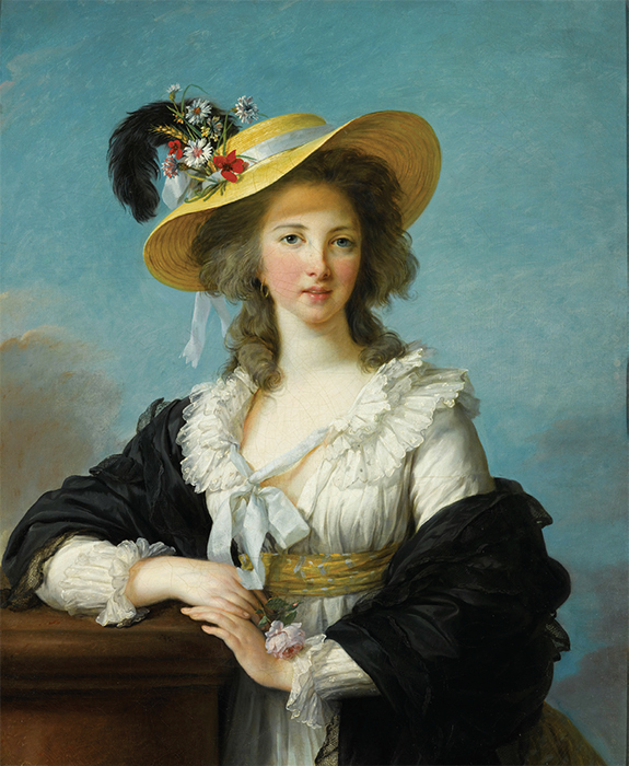 "Elisabeth Louise Vigée Le Brun, The Duchesse de Polignac in a Straw Hat, 1782, oil on canvas, 36 3/8 × 28 7/8""."