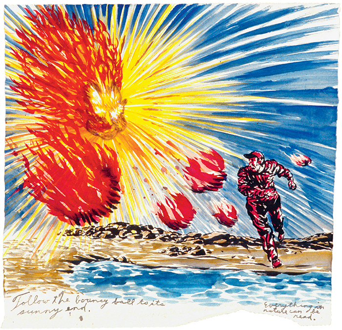 "Raymond Pettibon, No title (Follow the bouncy . . .), 2002, pen and ink on paper, 15 × 15 3/8""."