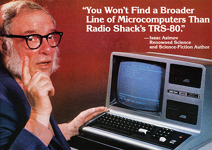 A detail from a 1982 Radio Shack advertisement showing Isaac Asimov and a TRS-80 computer.