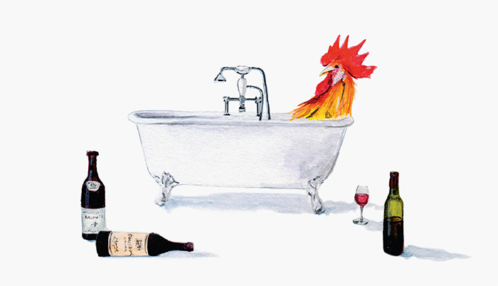 Tram Nguyen's illustration for the Simple White Wine Roast Chicken recipe from Pen & Palate: Mastering the Art of Adulthood, with Recipes.