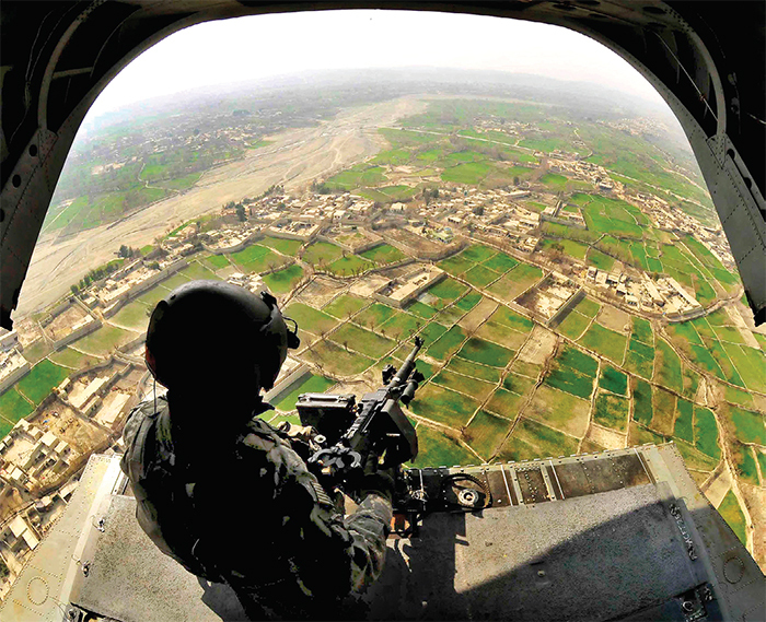 An aerial gunner, Khost province, Afghanistan, 2010. US Air Force Staff Sgt. Stephen J. Otero, Khost Prt Public Affairs/Wikicommons