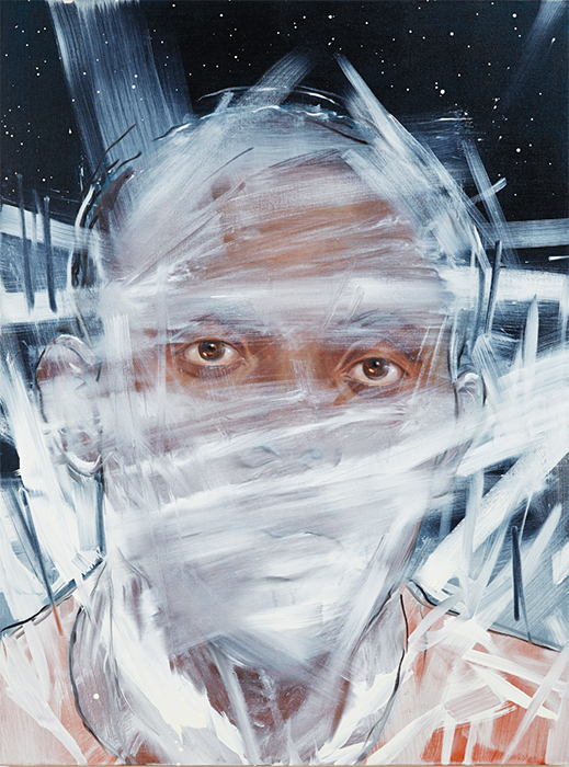 "Titus Kaphar, Traveler, 2014, oil on canvas, 48 × 36"". © Titus Kaphar, courtesy the artist and Jack Shainman Gallery, New York."