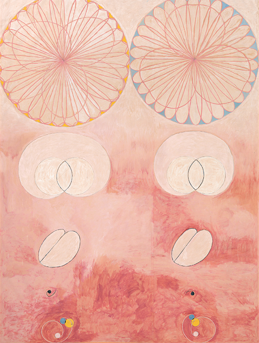 "Hilma af Klint, Group IV, No. 9, The Ten Largest, Old Age, 1907, tempera on paper mounted on canvas, 10' 6"" × 7' 9 3/4"". From the series ""Untitled: The Ten Largest,"" 1907."