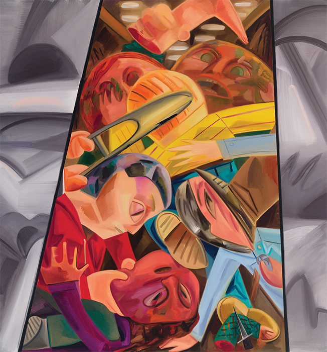 "Dana Schutz, Fight in an Elevator 2, 2015, oil on canvas, 96 × 90"". Courtesy the artist and Petzel, New York"
