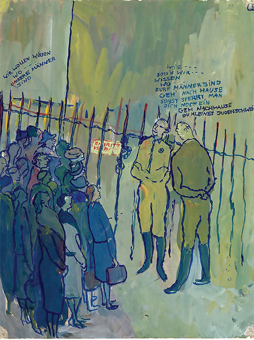 "Charlotte Salomon, untitled (""We want to know where our men are…""), ca. 1941, gouache on paper, 12 7/8 × 9 7/8"". From the series ""Leben? oder Theater?"" (Life? or Theater?), 1940–42. Courtesy The Jewish Historical Museum."