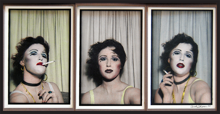 "Cindy Sherman, Untitled #484, 1975, three hand-colored gelatin silver prints, each 4 3/4 × 3 1/2""."