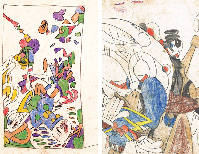"Two untitled works by Susan Te Kahurangi King, ca. 1959–61, crayon on paper, each 13 1/4 × 8 1/4"". Courtesy the Susan Te Kahurangi King Fellowship of the American Folk Art Museum."