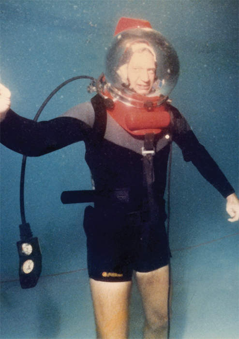 David Letterman during an underwater rehearsal for a 1988 episode of Late Night with David Letterman. Courtesy Steve O'Donnell.