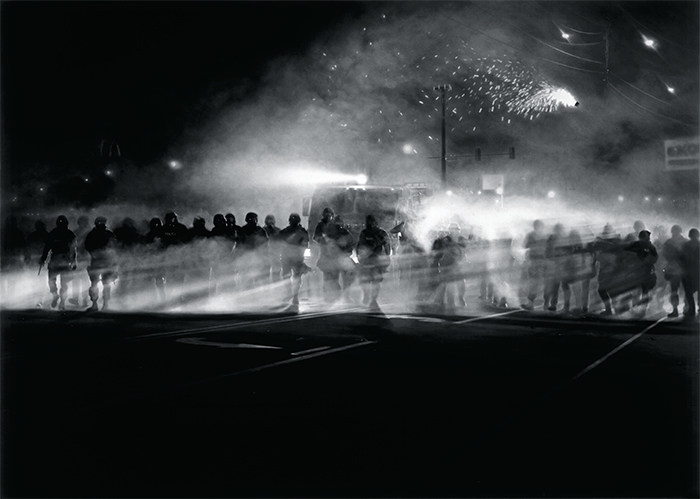"Robert Longo, Untitled (Ferguson) Diptych, 2014, charcoal on paper, 86 × 120"". Courtesy Petzel Gallery."