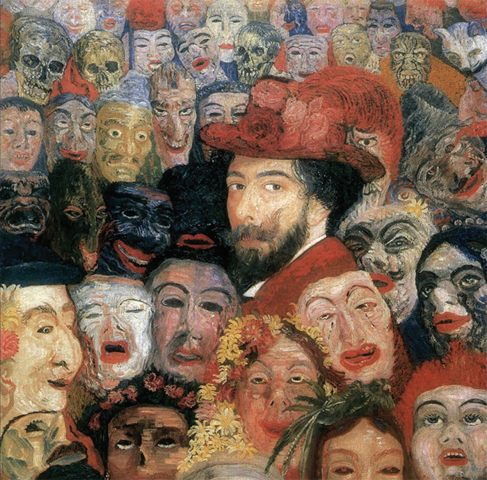 "James Ensor, Self-Portrait with Masks (detail), 1899, oil on canvas, 47 1/4 × 31 1/2""."