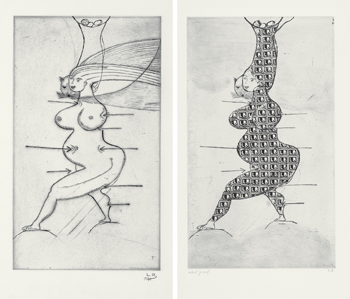"From left: Louise Bourgeois, Sainte Sébastienne, 1990, drypoint on paper, 25 3/8 × 17 1/8"". Louise Bourgeois, Stamp of Memories II, 1994, drypoint and metal stamp on paper, 25 3/8 × 17 1/8"". © The Easton Foundation/Licensed by VAGA, NY, courtesy t"