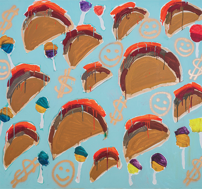 "Katherine Bernhardt, Tacos + Money, 2013, acrylic and spray paint on canvas, 75 × 84"". Courtesy CANADA Gallery."