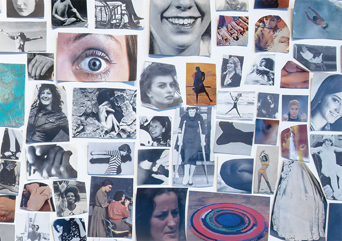 Carmen Winant, A World Without Men (detail), 2015, paper collage, 22 × 29'. Left and bottom center: Germaine Greer. Courtesy the artist.