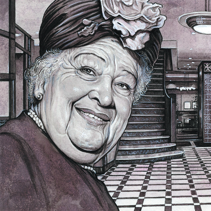 Drew Friedman's illustration of Sonia Kalish (Sophie Tucker). From Even More Jewish Comedians (Fantagraphics Books, 2011).