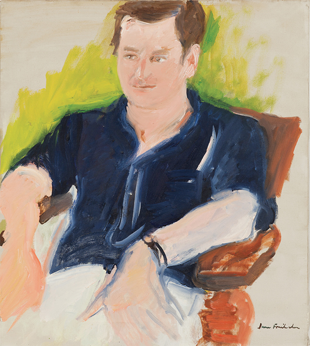 "Jane Freilicher, Portrait of John Ashbery, ca. 1968, oil on canvas, 20 1/4 × 18"". Courtesy The Flow Chart Foundation and Eric Brown Art Group, private collection."
